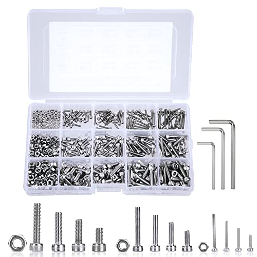 Tornillos y Tuercas M2 M3 M4 Pernos Tuerca de Cabeza Hexagonal de Acero Inoxidable Kits con Caja de Almacenamiento y llave Allen 480 piezas