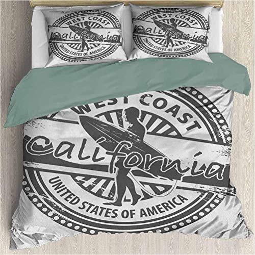 Juego de Fundas nórdicas Ride The Wave ModernWest Coast California Estados Unidos de América Juego de Fundas nórdicas con Estampado de Sellos Vintage y Funda de Almohada Gris Blanco Twin XL