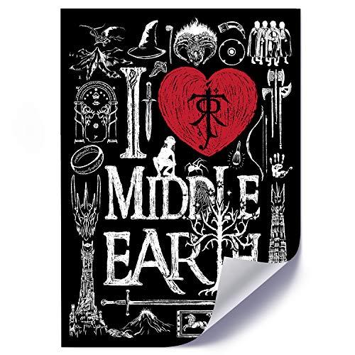 Poster déco I Love Middle Earth Image imprimée noir et blanc 40x60 cm