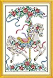 Bordado Kit de punto de cruz para adultos(11CT Preimpreso Tela)Caballo de Troya blanco Imágenes Principiante DIY Kit de punto de cruz niños la Regalo decoración del hogar,16x20 inch