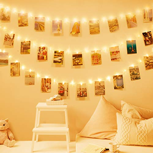 LED Fotoclips Lichterkette für Zimmer Deko, Litogo 10M 100LED Lichterkette mit 60 Klammern für Fotos Lichterkette Wand Batteriebetriebene Lichterkette Bilder für Wohnzimmer, Weihnachten, Hochzeiten - 5
