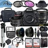 Nikon D850 DSLR Camera 45.7MP Sensor with AF-S NIKKOR 24-120mm f/4G ED VR & 50mm f/1.8D Dual Lens, 2 Pack SanDisk 128GB Memory Card, Bag, Tripod and A-Cell Accessory Bundle (Black)