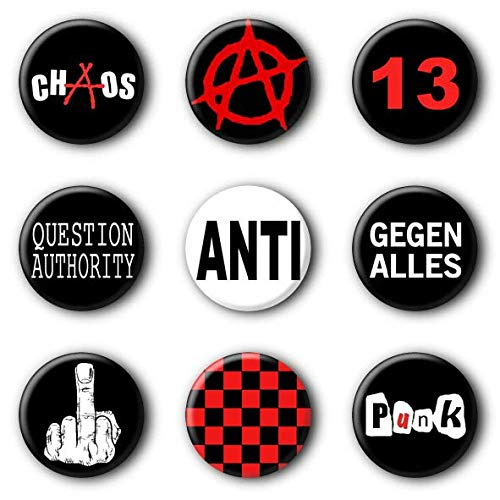 9 Punk Buttons Punkrock Buttonset Anstecker Ansteckbuttons Punkbuttons #1 (2,5cm)