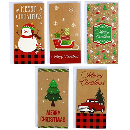 Kraft Christmas 30 Gift Card / Money Holders and 30 Envelopes