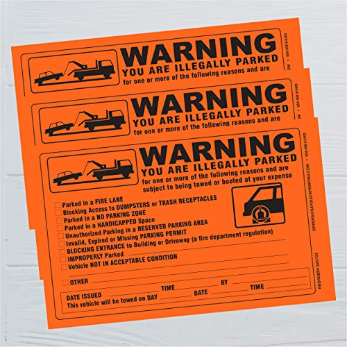 Parking Violation Sticker - Vehicle Illegally Parked Tow Notice - Parking Violation Notice - No Parking Warning Stickers - 5.5 x 7.5 Hard to Remove Stickers - Pack of 50 (Orange) Photo #3