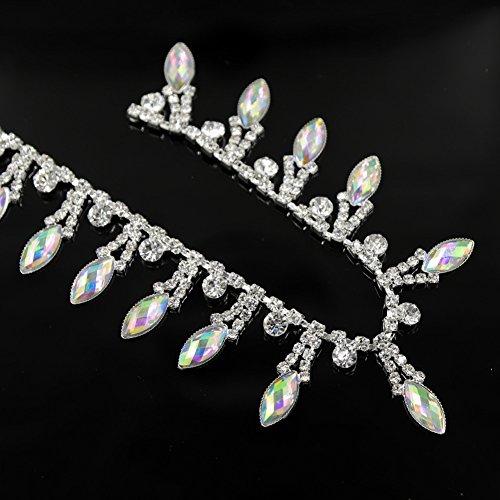 1 Yard AB Resin Crystal Applique Rhinestone Bridal Trim Fashion Chain Fringe Embellishment Fuchsia De.De