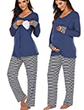 Ekouaer Maternity Nursing Pajama Set Long Sleeves Breastfeeding Sleepwear Soft Hospital Pregnancy pjs Sets