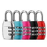 5 x Cadenas à Combinaison, DazSpirit 3 Digit Combinaison Cadenas de Sécurité Luggage Locks pour valises de Voyage Bag Lockers Case Gym Backpack - Noir, Bleu, Rose, Rouge et Argent