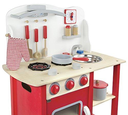 Leomark Classic Spielküche aus Holz - Farbe Rot - Kinderküche mit Zubehör, Holzküchemit Waschbecken, Pfanne, Backofen, Kochtopf, Küchenhelfern, Uhr, Funktionale Bunte Spielzeug, für Mädchen und Jungen, Höhe 75 cm - 7