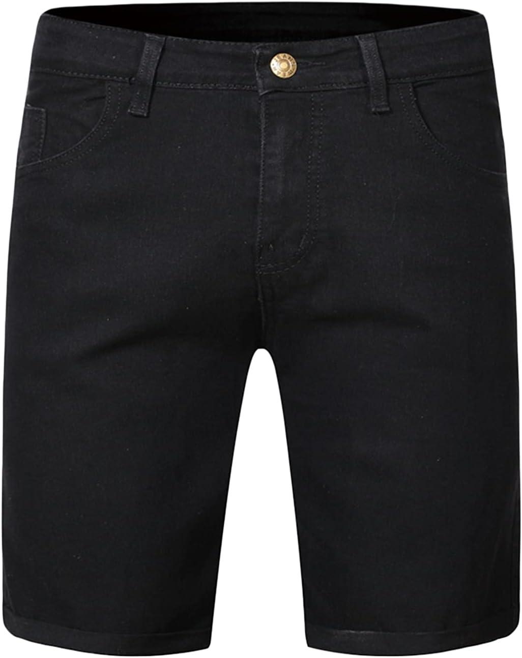 Men's Slim Fit Jean Shorts Comfy Stretch Knee Legth Denim Shorts Summer Distressed Casual Jeans Short Pants (Black,Medium)
