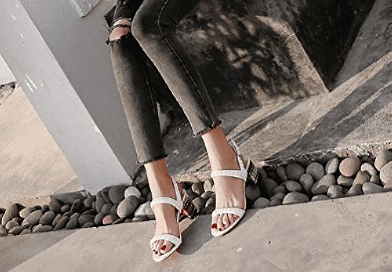 AWXJX Sommersaison Frauen Flip Flip Flops Open Toe künstliche Perlen Dick mit Mitte der Ferse High Heel Weiß 6 US 36 EU 3.5 UK  10 tage rückkehr