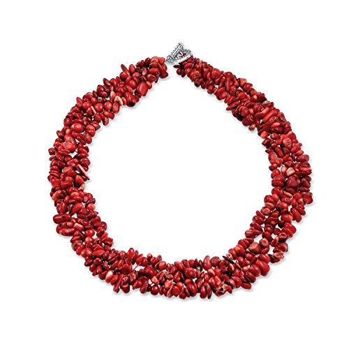 Bling Jewelry Tinta Rosso Corallo Pietra Chunky Cluster Bib Chip Multi-Trefolo Dichiarazione Collane Placcato Argento Chiusura