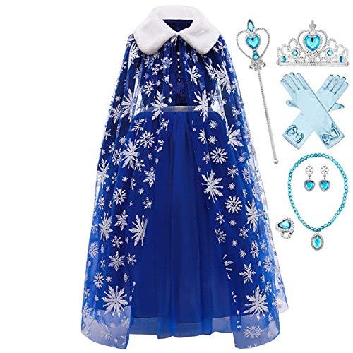 LOBTY Disfraz de Princesa Elsa, Traje del Vestido, Traje de Princesa de la Nieve Vestido Infantil Disfraz de Princesa de Nias para Halloween Traje Fiesta Cosplay