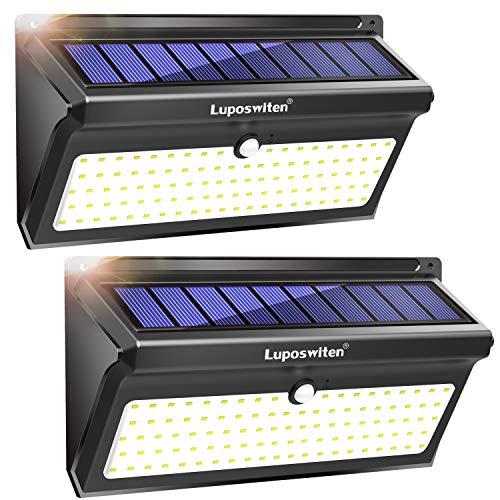 Focos Solares, Luposwiten 100 LED Lamparas Solares Exterior, 2000LM Luz Solar...