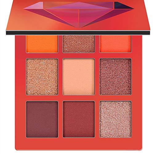 Thatso 9 Colors Eyeshadow Palette Cosmetic Matte Shimmer Anti-Sweat Lasting No Fly Powder Eyeshadow Makeup Palette (E)