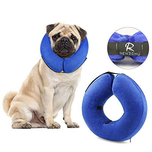 RENZCHU Dog Cone Collar Soft - Protective Inflatable Cone Collar for Dogs and Cats, Soft Pet Recovery E-Collar Cone Small Medium Large Dogs, Designed to Prevent Pets from Touching Stitches-Medium