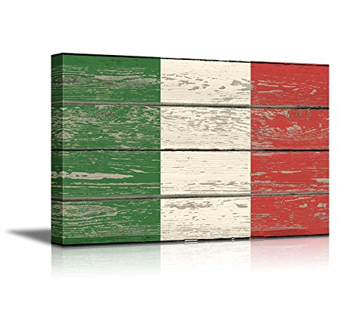 """Wall26 - Canvas Prints Wall Art - Flag of Italy on Vintage Wood Board Background Stretched Canvas Wrap. Ready to Hang - 12"""" x 18"""""""