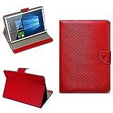 Acer Iconia Tab 10 A3-A50 Universal Tablet Tasche mit Ständerfunktion Hülle für Tablet Schutztasche in edler Carbon-Optik Schutzhülle Stand Tasche Etui Cover Case hochwertige Optik von NAmobile, Farben:Rot