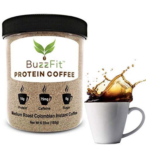 Protein Coffee by BuzzFit, Instant Colombian Coffee with 10g of Protein, No Sugar, Clean Ingredients, Keto, Lactose Free, Gluten Free, Non-Acidic