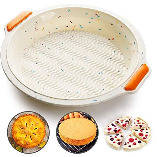 NACLY Stampo Rotondo in Silicone, Antiaderente, Stampi in Silicone per Torte, Stampi in Silicone di Alta Qualità per Alimenti Stampi da Forno, 9.5 Pollici, Beige