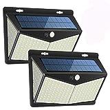 Luz Solar Exterior 208 LED, Luces LED Solares Exteriores con Sensor de Movimiento y 3 Modos de Iluminación, 270º lluminación Focos Solares Impermeable Lámpara Solar para Jardin (2-Paquete)