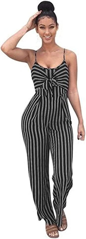Stripe Sleeveless Jumpsuit for Women - Casual Summer Wide Leg Pants Romper Playsuits (Large,Black)
