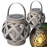 Lámpara decorativa LED solar de mesa y colgante con apariencia ratán. Incl. vela LED con efecto de llama. Set 2 unidades Medidas 15,5 x Ø 15,8 cm. Para uso exterior. Resistencia al agua IP44