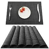Kokako - Set di 4 tovagliette all'americana, antiscivolo, lavabili, in PVC, resistenti al calore, resistenti allo sporco e lavabili, ideali per la cucina e la tavola, PVC, grigio scuro, 6
