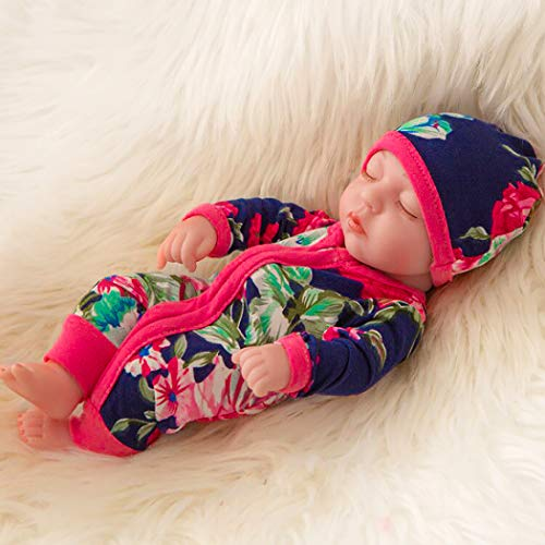 Soft 10 inch Newborn Reborn Baby Doll and Clothes Set Washable Realistic Silicone Baby Dolls with Blue Flower Rompers and Hat - Best Gift for Kids Girls