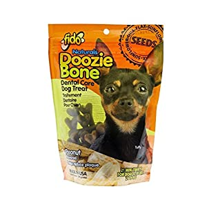 Fido Naturals Doozie Bones Dental Care Treat for Dogs, Peanut Flavored, Made with Sunflower, Chia, & Flax Seeds-Naturally Freshens Breath, Reduces Plaque & Whitens Teeth 21ct – Mini Treats