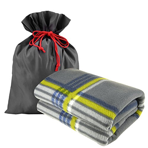 "forestfish Fleece Throw Blanket Cozy Soft Portable Travel Blanket Compact for Long Car Airplane Train Rides 60"" x 40"", Plaid"