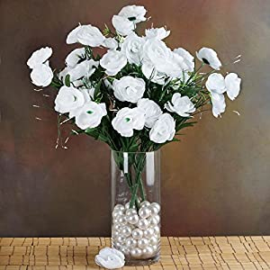 72 White Silk Ranunculus Flowers Wedding Party Bouquets Arrangements Wholesale cf003