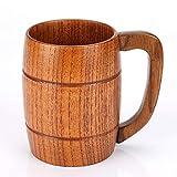 Taza de cerveza en forma de barril de madera hecha a mano, taza de beber de madera clásica, respetuoso del medio ambiente natural