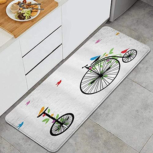 ALLMILL Alfombra de Cocina, Bicicleta Volando pájaros y Flores en Viejas Bicicletas de una Sola Rueda Gráfico de Pedales de Felicidad y alegría,tapete Decorativo para Piso de Cocina con Respaldo