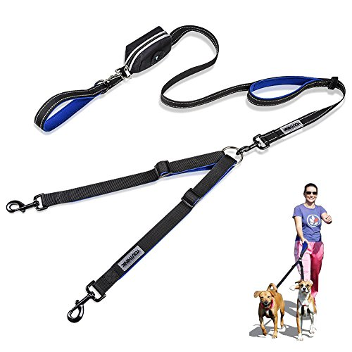 Doble Correa para Perros, Correa Ajustable de 200 cm para 2 Perros con 1 Control A Rayas y Bolsa de Bolsillo Ideal para Correr y Andar