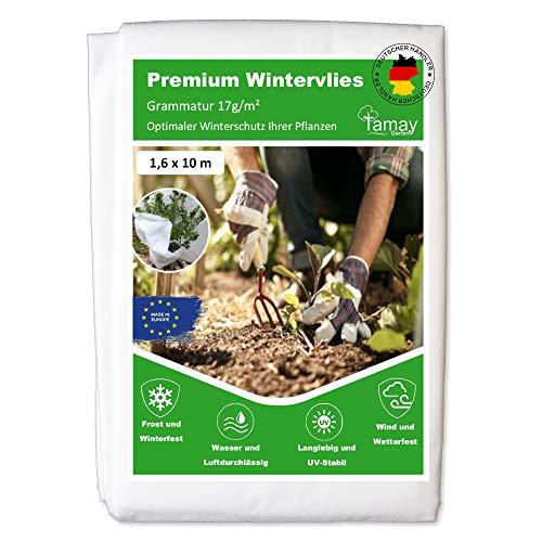 Tamay Wintervlies Premium (1,6 x10m) 17g/m2 Hochwertiges Kälte und Frostschutz Vlies für Pflanzen I Sicheres Winterschutzvlies zum Pflanzen-Überwintern I Atmungsaktives Pflanzenschutz Vlies Winter