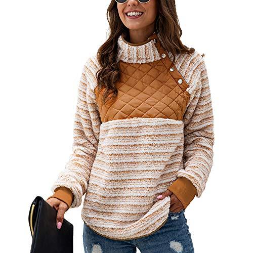 BIXUYAO Vrouwen Fuzzy Pullover/Lange Mouwen Zip Fleece Top Vest Winter Oversized Warm Vrije tijd Bovenkleding Geschikt voor Dagelijks dragen