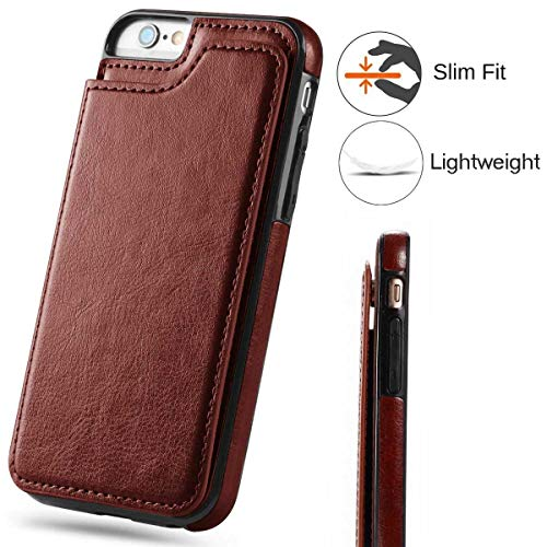 iPhone 6S Plus Wallet Case,iPhone 6 Plus Slim Fit Wallet Case for Women/Men,Aprilday Premium iPhone 6 Plus Leather Purse Case Durable Shockproof Cover with Wallet&Card Holder&Kickstand -5.5in Brown