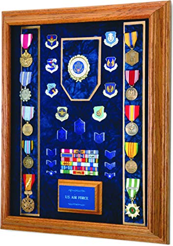 All American Gifts Military Award & Medal Display Case - 16x20 - Shadow Box (USAF Emblem/Blue Velvet)