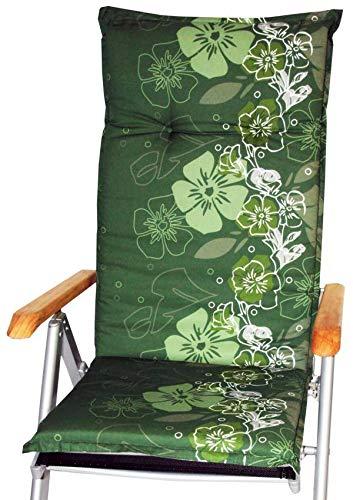 Sitzkissen mit Blumen Motiv in Mehreren grün Tönen für Stühle mit hoher Rückenlehne