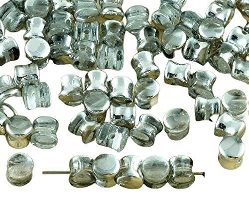 Spacer Beads 60pcs de Plata de Cristal de la Mitad de Pellets...