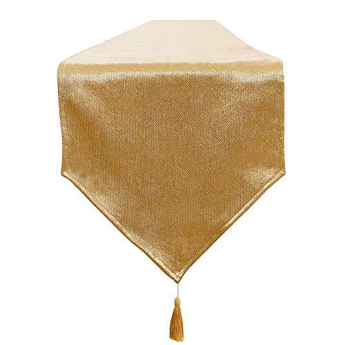 BALCONY & FALCON Tischläufer Gold Abwaschbar Leinenoptik Tischdecke Glänzend Tischläufer Wasserabweisend Klassische Tischwäsche Matte für Esszimmer Party Urlaub Dekoration