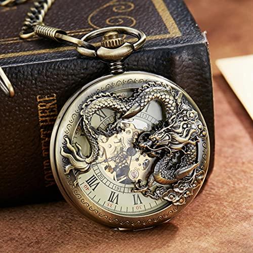 SSJIA Reloj de Bolsillo mecánico Dragon Ball Flip Reloj con Cadena para Hombres, Mujeres, como pic