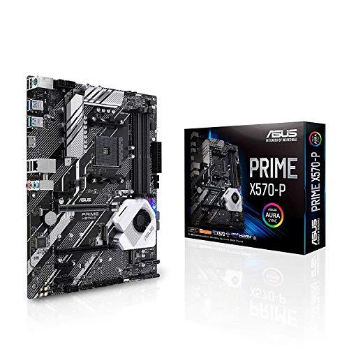 ASUS Prime X570-P Scheda Madre, ATX AMD AM4 Ryzen 3000, 12 fasi di alimentazione DrMOS PCIe 4.0 M.2 DDR4 Intel LAN HDMI DP SLI CFX SATA, USB 3.2 Gen 2 Type-A Type-C Aura Sync RGB