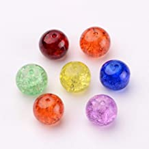 PEPPERLONELY Brand 50PC Assorted 12mm Round Crackle Glass Beads