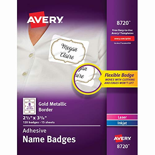 Avery Self-Adhesive Removable Name Tag Labels, Gold Metallic Border, 2-1/3 x 3-3/8, 120 Badges (8720), Gold Border