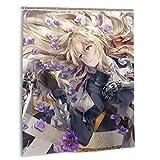 gshihuainingxianfuch Violetter Evergarden-Duschvorhang mit wasserdichtem Duschvorhang aus Polyestergewebe 12 Haken 60 x 72 Zoll