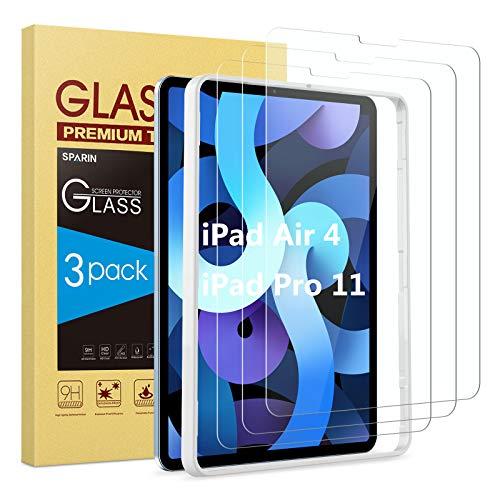SPARIN (3 Stück) Panzerglas für iPad Air 4 & iPad Pro 11 2020/ 2018 mit Positionierhilfe, Schutzfolie iPad Air 4. Generation (10,9 zoll), 9H Festigkeit, Anti-Kratzen, Anti-Bläschen