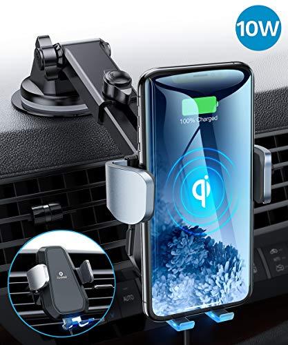 andobil Handyhalter fürs Auto Wireless Charger Automatisches Spannen mit Lüftung & Saugnapf Qi 7.5W/10W Fast Charging Auto Handyhalterung für iPhone11/11 Pro/XR/Samsung S20/S10/S9 Usw Qi Smartphones