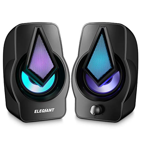 ELEGIANT Altavoces PC, Altavoz 2.0 USB 10W Gaming de Ordenador Sobremesa...